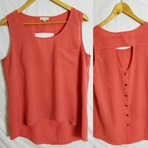 Mine coral high low sleeveless career blouse  Sz L
